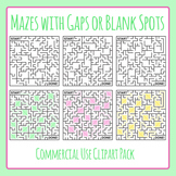 Mazes with Gaps or Blank Spots Clip Art Set for Commercial Use