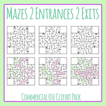 Mazes with Two Entrances and Two Exits Clip Art for Commercial Use