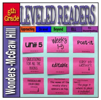 Mc Graw-Hill 5th Grade Wonders Post-its Unit 5