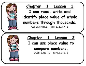 Mc Graw-Hill My Math! Grade 3 All Chapters Objectives Cards SAN COMIC BOLD
