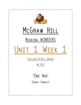 "Mc Graw Hill Reading Wonders Unit 1 Week 1 SPELLING ABC Order ""One Hen"""