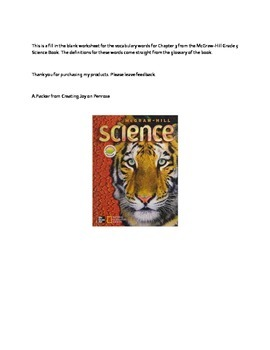 Mc-Graw-Hill Science 5th grade Chapter 3 Vocabulary