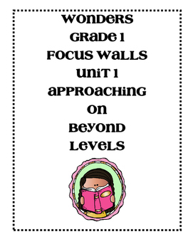 Mc Graw-Hill WONDERS Grade 1 Unit 1 Focus Walls