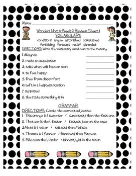 WONDERS Grade 3 Unit 6 Vocabulary and Grammar Reviews