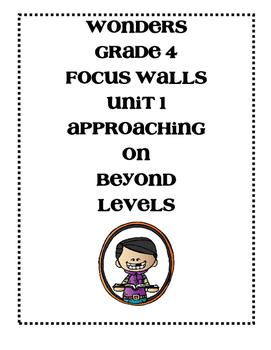 Mc Graw-Hill WONDERS Grade 4 Unit 1 Focus Walls