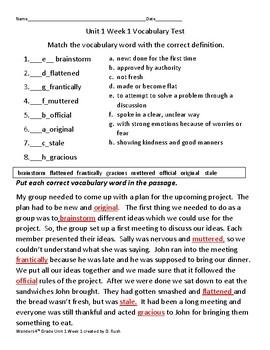 Mc Graw Hill Wonders   4th Grade  Unit 1 Weeks 1-5  Grade Vocabulary