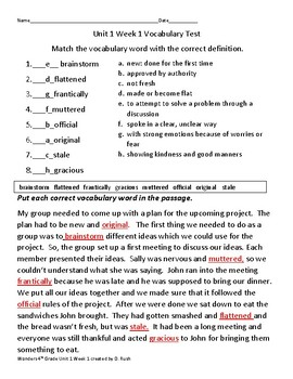4th grade Mc Graw Hill Wonders     Unit 1 Weeks 1-5  Grade Vocabulary