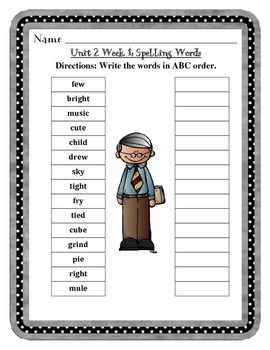 Mc Graw-Hill Wonders Grade 3 Unit 2 Spelling Practice