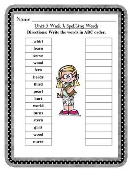 Mc Graw-Hill Wonders Grade 3 Unit 3 Spelling Practice