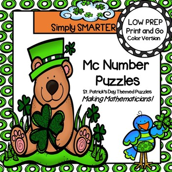 Mc Number Puzzles:  LOW PREP St. Patrick's Day Themed Puzzles