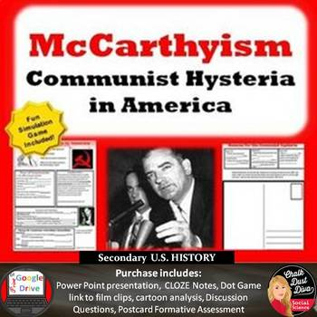 COLD WAR - McCarthyism – Communist Hysteria in America (Google Docs Included!)