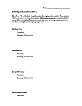 McCarthyism Group Presentations Notetaker