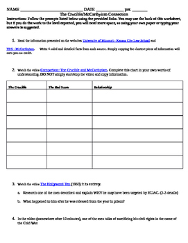 McCarthyism - The Crucible Connection Activity