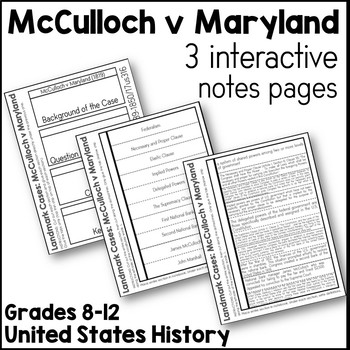 McCulloch v Maryland Interactive Notes Pages