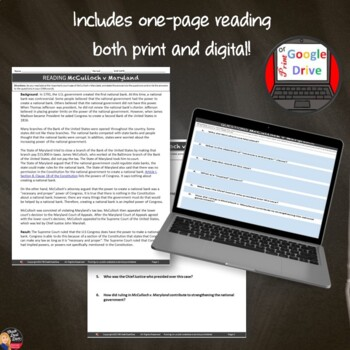 McCulloch v Maryland Lecture Presentation with CLOZE notes (Print & Digital)