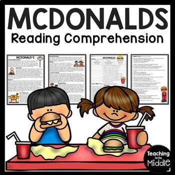 McDonald's History Reading Comprehension Worksheet 1950s Fast Food