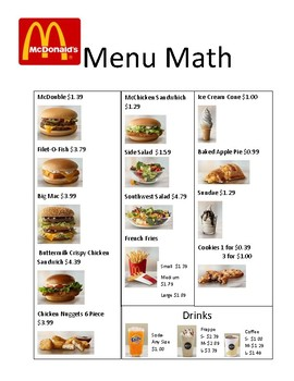 mcdonalds menu math by lifeskills connections with mrs ng  tpt