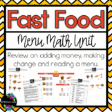 Hamburger Fast Food Menu Math Unit