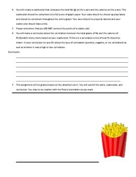 Scatter Plot Project using McDonald's Menu (8.SP.1 & 8.SP.2)