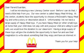 McDonald's Happy Meal Writing Center (with parent donation letter)