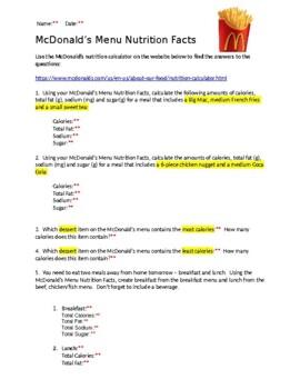 Mcdonald S Menu Nutrition Facts By Biology Boutique Tpt