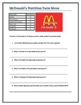 McDonald's Nutrition Facts with Statistics, Mode, Median, Box and Whiskers