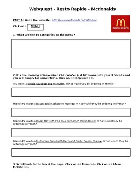 McDonalds WebQuest - Online French Menu