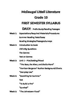 McDoual Littell Literature Grade 10 Syllabus