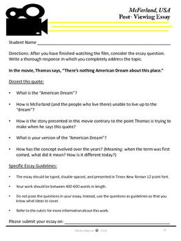 McFarland USA: Movie Viewing Guide