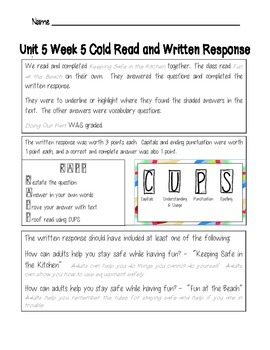 McGraw-Hill 2nd Grade Wonders U5 W5 Weekly Assessment Answer Sheet
