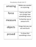 McGraw Hill 2nd Grade Wonders Vocabulary Definition Cards Unit 3