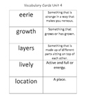McGraw Hill 2nd Grade Wonders Vocabulary Definition Cards Unit 4