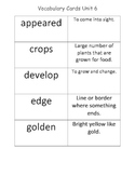 McGraw Hill 2nd Grade Wonders Vocabulary Definition Cards Unit 6