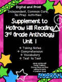 McGraw Hill Wonders 3rd Gr. Anthology Unit 1 No Prep, Note Taking w/Questions