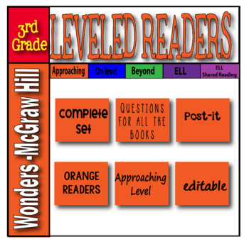McGraw Hill 3rd Grade Wonders Post-its APPROACHING Level -orange-