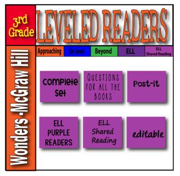 McGraw Hill 3rd Grade Wonders Post-its ELL