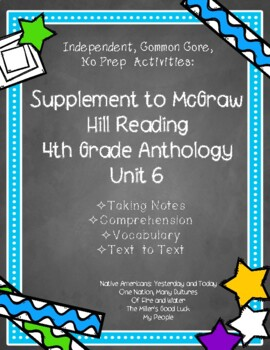 McGraw Hill 4th Gr. Anthology Unit 6 No Prep, Note Taking w/Questions