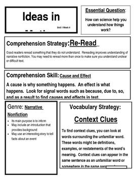 McGraw Hill 4th Grade Reading Wonders Focus Wall Chart Unit 1 Week 4