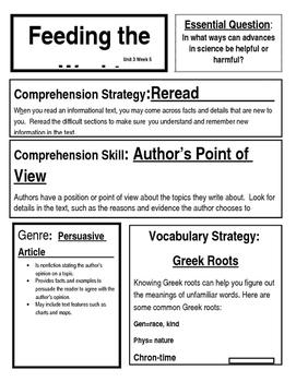 McGraw Hill 4th Grade Reading Wonders Focus Wall Chart Unit 3 Week 5