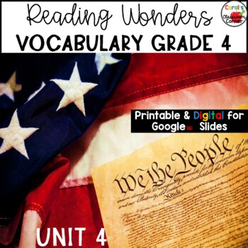 Wonders 4th Grade Vocabulary BUNDLE Unit 4