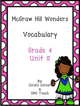 Wonders 4th Grade Vocabulary BUNDLE Unit 5