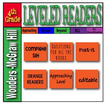 McGraw Hill 4th Grade Wonders Post-its APPROACHING Level -orange-