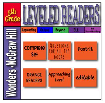 McGraw Hill 5th Grade Wonders Post-its APPROACHING Level -orange-