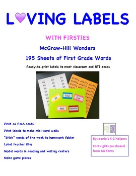 Loving Labels with Firsties  McGraw-Hill Wonders 195 Word Labels