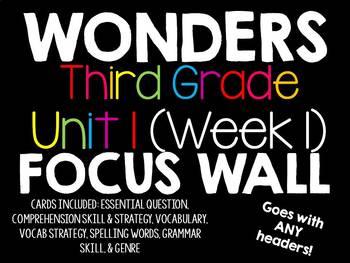Wonders Focus Wall Third Grade Unit 1 Week 1