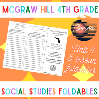 McGraw Hill Fourth Grade Florida Social Studies Unit 4 Foldables Trifold