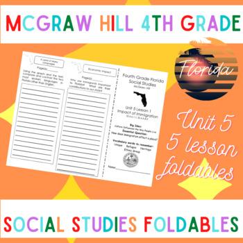 McGraw Hill Fourth Grade Florida Social Studies Unit 5 Foldables Trifold