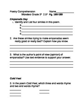 McGraw Hill Grade 3 Wonders Unit 2.5 Poetry Comprehension