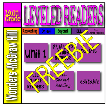 McGraw Hill Grades 3, 4 and 5 Wonders ELL SAMPLER