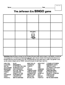McGraw-Hill HISTORY  The Jefferson Era BINGO game